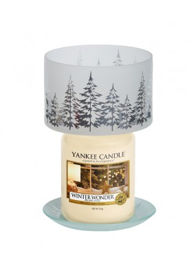 """Комплект плафон и поднос для большой  и средней свечи """"Зимние деревья"""""""