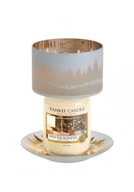 """Комплект плафон и поднос для большой  и средней свечи """"Зимний пейзаж"""""""