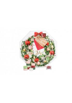 """Подарочный набор чайные свечи """"Рождественский венок"""" - рождественский календарь."""